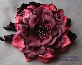 Handmade lightcoral - pink - gray satin flower brooch, flower clip & pin