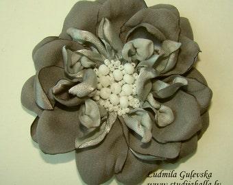 Handmade gray satin flower brooch, flower pin, embroidered flower