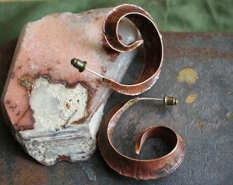 Capricorns love the mountians// slim, handmade Copper fold formed earrings