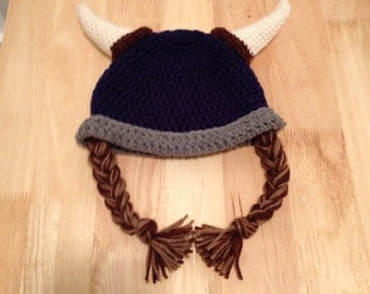 Viking Crochet Hat with Braids