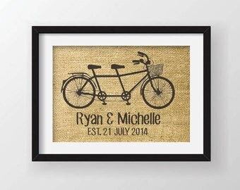 Custom Burlap Art Print - Tandem Bicycle with Couple's Names and Established Date on Actual Burlap Fabric
