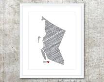 British Columbia Province Art Print - Custom Canadian Province Poster - BC Canada Province Poster - Slate Grey Red Heart - Modern Wall Art