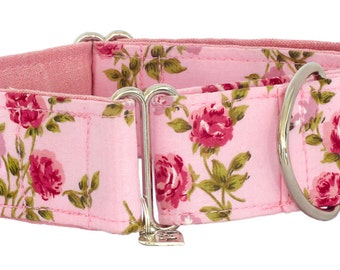 """Noddy & Sweets Adjustable Martingale Collar [1"""", 1.5"""", 2"""" Pink Roses]"""