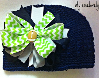 Seattle Seahawks Baby Girl Boutique Bow Crocheted Hat