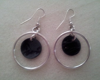 Silver hoop earrings with Black accent beads