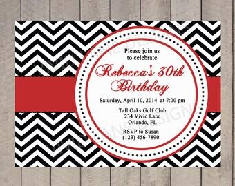 Adult Birthday Invitation, Milestone Birthday Invitation, 30th, 40th, 50th, 60th, 70th, 80th  Chevron and Red 6005