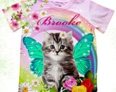 Personalized kitten T-shirt, cat birthday shirt, Birthday kitty shirt, Toddler cat bodysuit, Customized fantsy tee, butterfly rainbow kitten