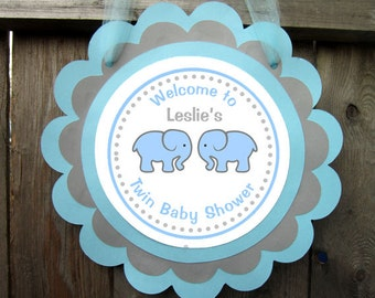 Blue Elephant Twins Baby Shower Door Sign - Twin Boys Baby Shower Sign