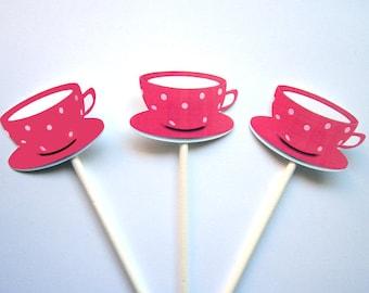 Tea Party Tea Cup Cupcake Toppers - Hot Pink Polka Dot