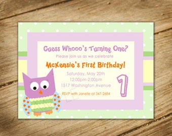 Spotted Owl - Guess Whooo's One / Owl Theme Birthday Invitation