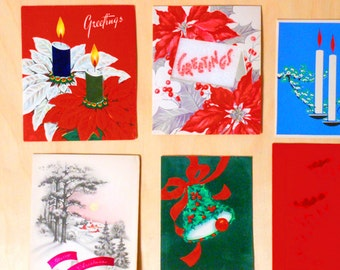 SALE 25% OFF CIJ Vintage Christmas Cards with Winter Scene, Candles, Roses, Bells, Poinsettia, Christmas Trees Set of 12 Cards
