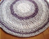 "Crochet Rag Rug, Purple Round Rag Rug, Purple and White 34"" Crocheted Round Rag Rug, Cottage Chic Decor, Shabby Decor, Girl's Rug"