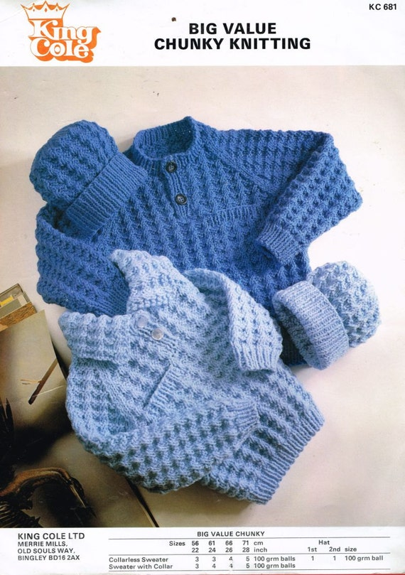 baby chunky jumper and beanie hat vintage knitting pattern