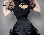 Black satin steel gothic waist training underbust corset
