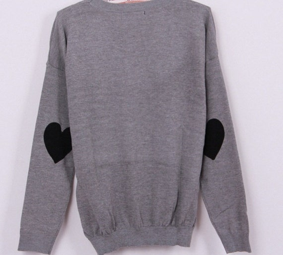 Gray Sweater With Black Heart Elbow Patches