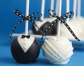 Wedding Cake Pops, Wedding Favors, Black and White Cake Pops, Black and White Wedding Cake Bites