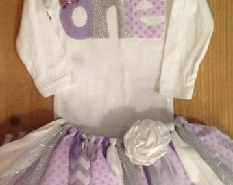 Lavender Purple and Silver Birthday Tutu Outfit