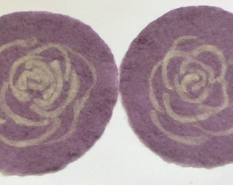 felt placemat with a rose, purple