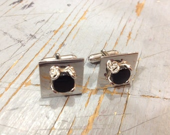 Vintage 1980s Silver Tone Cuff Links with Black Stone