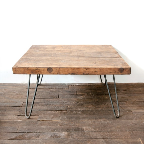 Wooden Coffee Table Salvaged Butcher Block Barn Wood Coffee