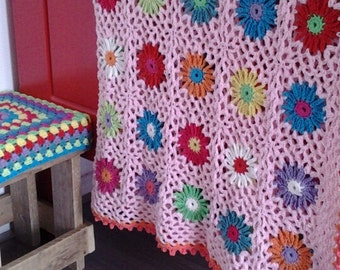 Patroon gehaakte bloemen deken