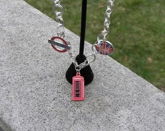 Multi-layered British themed charm bracelet
