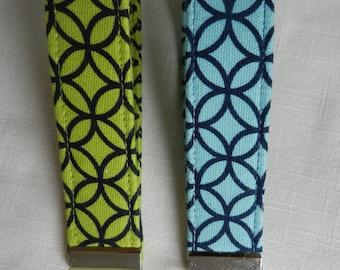 Blues and Lime geometric Fabric, Key Fob, Key chain, Wristlet, Camera Strap