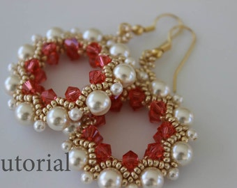 PDF tutorial beaded Earrings Singhalese_ seed beads_pearls_crystals_Swarovski_easy pattern