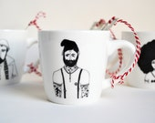 Tattoo man - porcelain cup with handmade illustration