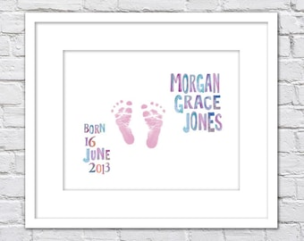 Watercolor Baby Footprints Birth Announcement Keepsake/ Personalized Baby footprint/ Boy or Girl Nursery/Watercolor Baby announcement-8x10
