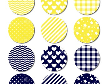 Cupcake toppers Yellow & Navy Blue - Instant Download - Flag pennant