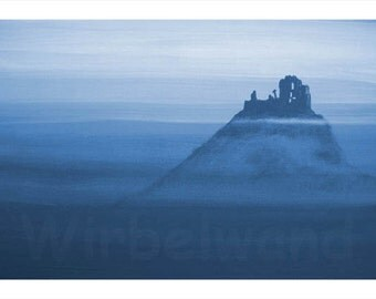 Print of an acrylic painting - Ruin in the Fog (17 x 12 inch) Night blue Colours