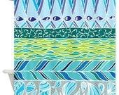 Blue Fabric Shower Curtain -  Vibrant Art, pattern, blue, teal, green, art, decor, bathroom, washable, home