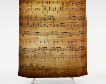 Sheet Music Shower Curtain - old sheet music,  fabric shower curtain, music, aged, brown, yellow, sing, musician gift decor, home
