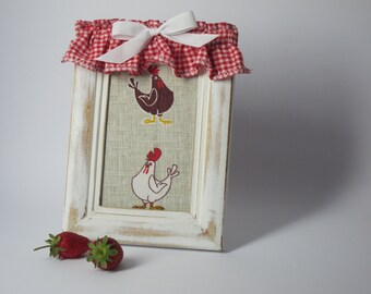 Mother's Day / Country chic Frame / Novelty fabric, wooden shabby chic frame and fabric decor red and white