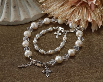 Sterling Silver Mom and Me Bracelet Set for Mother and Daughter with Cross Charms and Gift Box for Mother's Day Gift (003)