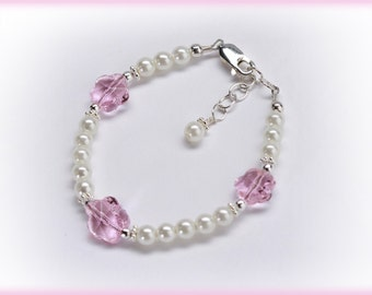 Flower Girl Sterling Silver Bracelet with White Faux Pearl and Pink Crystal Flowers Comes in Gift Box for Flower Girls (006)