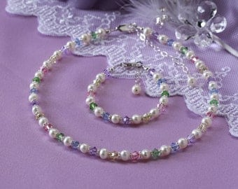 Girls Sterling Silver Necklace and Bracelet Set with Freshwater Pearls and Multi-Crystals and Comes in Gift Box (007)