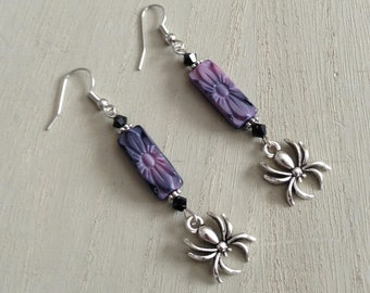 SIlver Spider Earrings with Etched Czech Glass