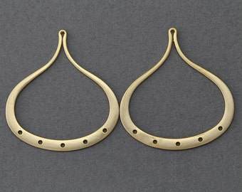 Teardrop Brass Connector . Jewelry Craft Supply . 16K Matte Gold Plated over Brass  / 2 Pcs - GC011-MG