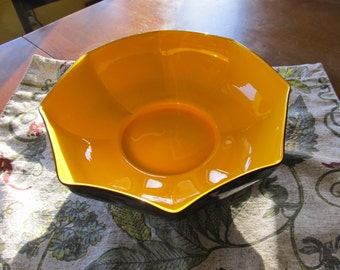Vintage Black and Yellow Ceramic Bowl