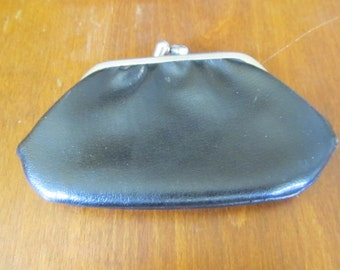 Vintage Black Leather Coin Purse