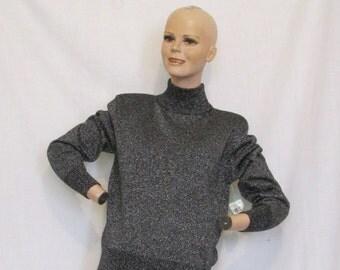 SALE Vintage 1980's 1990's Evan-Picone black silver sparkle turtle neck sweater original store tags NOS size M
