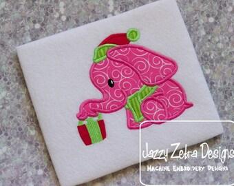 Elephant with Present Applique Design