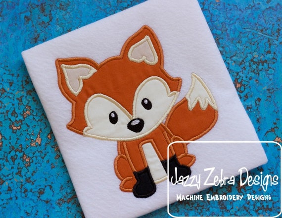 Fox Applique embroidery Design - fox applique design - forest animal applique design