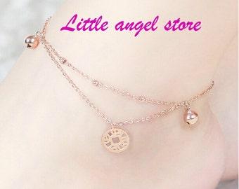 Fashion, COINS, bells, multilayer, 18 k rose gold plating, anklets, Mosaic gold, titanium steel, gifts