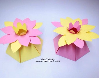 Pink Wedding Favor Boxes Yellow Wedding Favor Boxes Flower Favor Boxes Flower Favors Flower Favours Pink Wedding Yellow Wedding