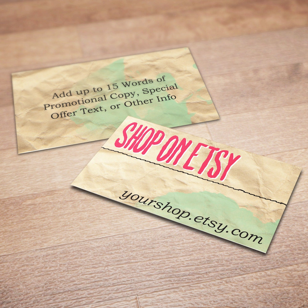 100 custom business cards for promoting your etsy shop for Business card shop