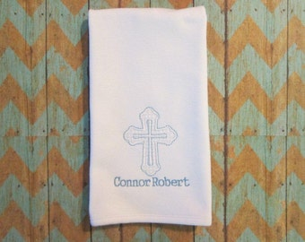 Baptism/christening burp cloth