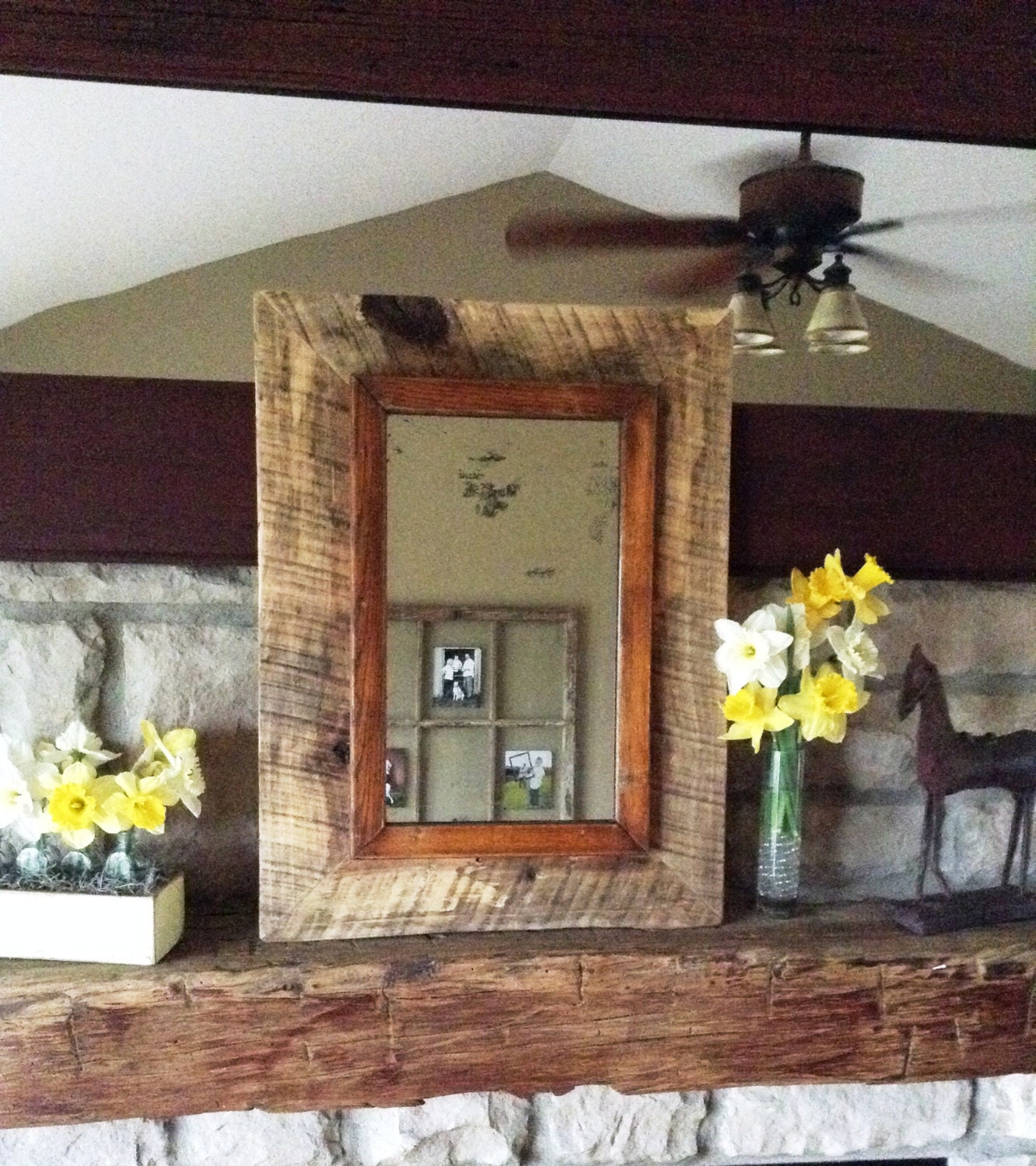 Price reducedhandmade barn wood framed antique for Price of reclaimed wood
